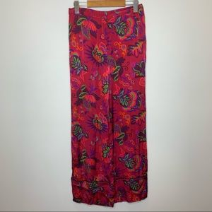 Topshop High Waist Wide Leg Flowy Silky Trousers